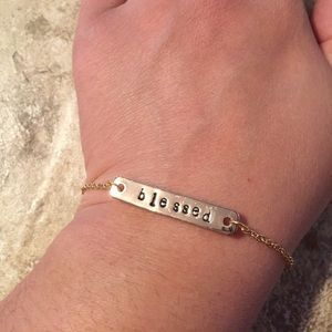 Blessed metal stamped bracelet